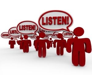 Listen - Many People Talking Demanding Attention